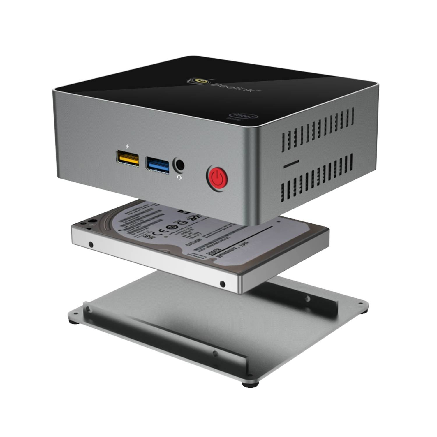 """Beelink J45 Windows 10 Mini Computer for Home or Office - Showing 2.5"""" HDD/SSD Expansion"""