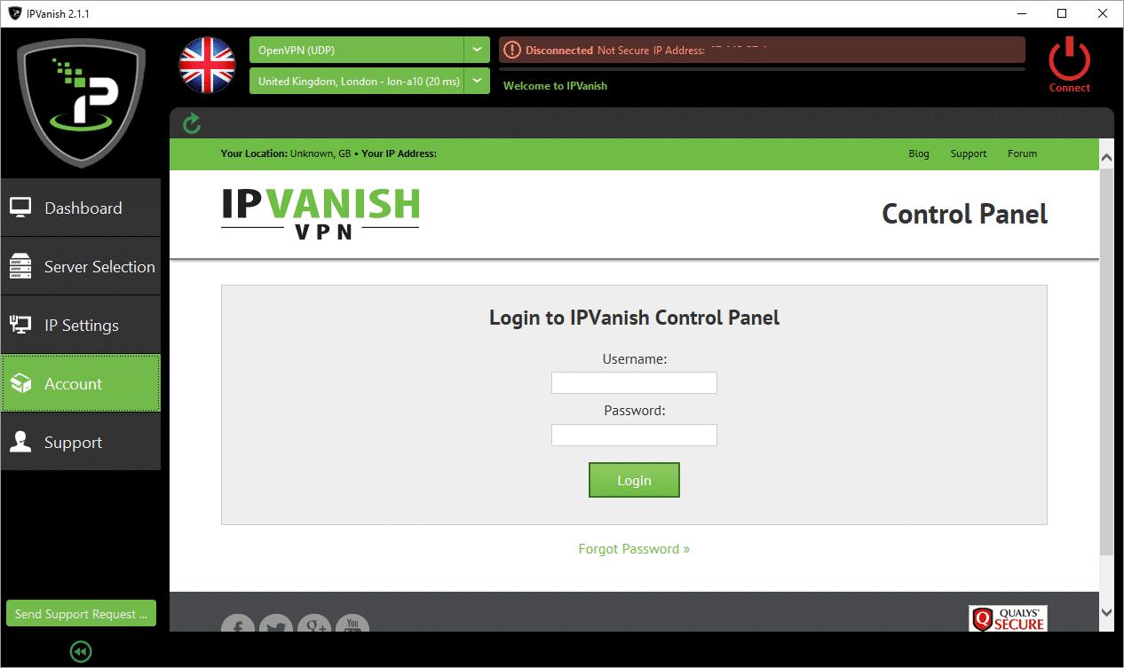 IPVanish Account Check Requires Login