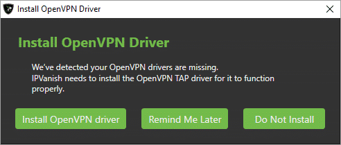 First Run OpenVPN Component Required