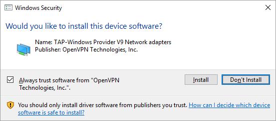 First Run OpenVPN Component Driver Dialog
