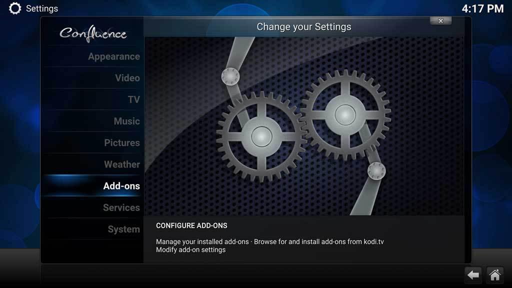 Kodi System Settings Addons
