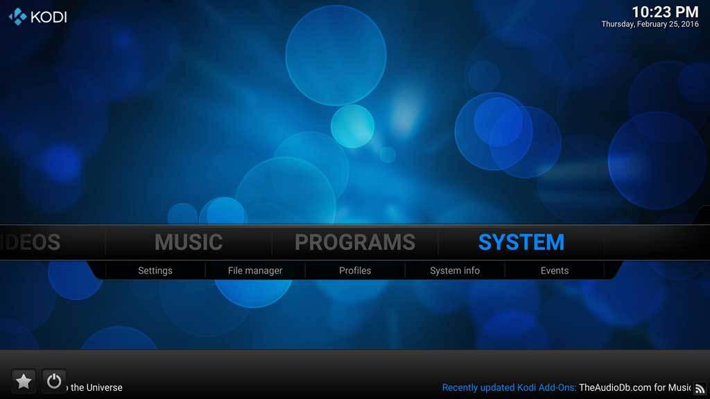 Kodi System Menu