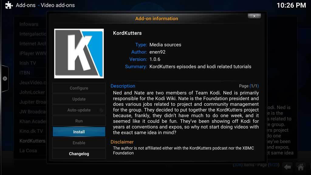 Kodi Video AddOns KordKutters 2