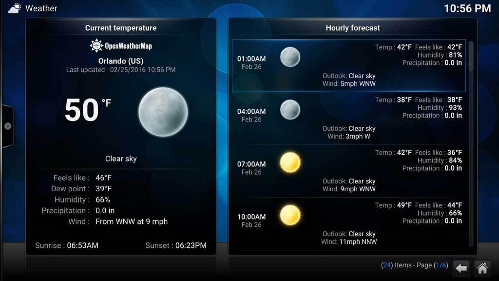 Kodi Weather OpenWeather 6