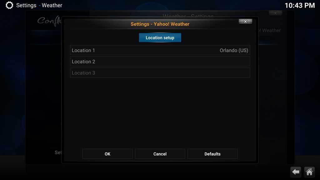 Kodi Weather Yahoo 5