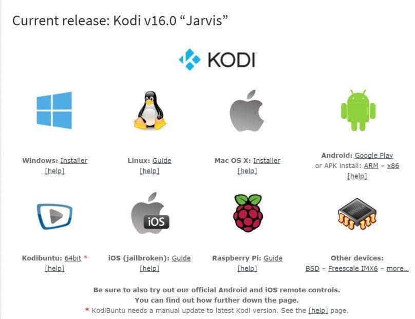 Kodi TV Download Page