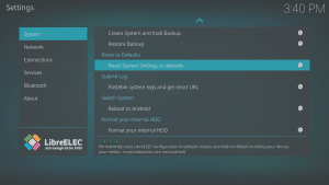 LibreELEC 8.0.2 LibreELEC Configuration c System Area Reset LibreELEC Highlighted