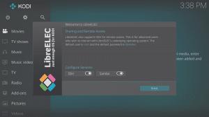 LibreELEC 8.0.2 Wizard Fourth Screen Services SSH Samba