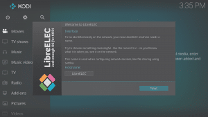 LibreELEC 8.0.2 Wizard Second Screen Hostname