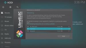 LibreELEC 8.0.2 Wizard Third Screen a Selecting WiFi Network