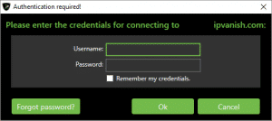IPVanish Server Selected Credentials Check