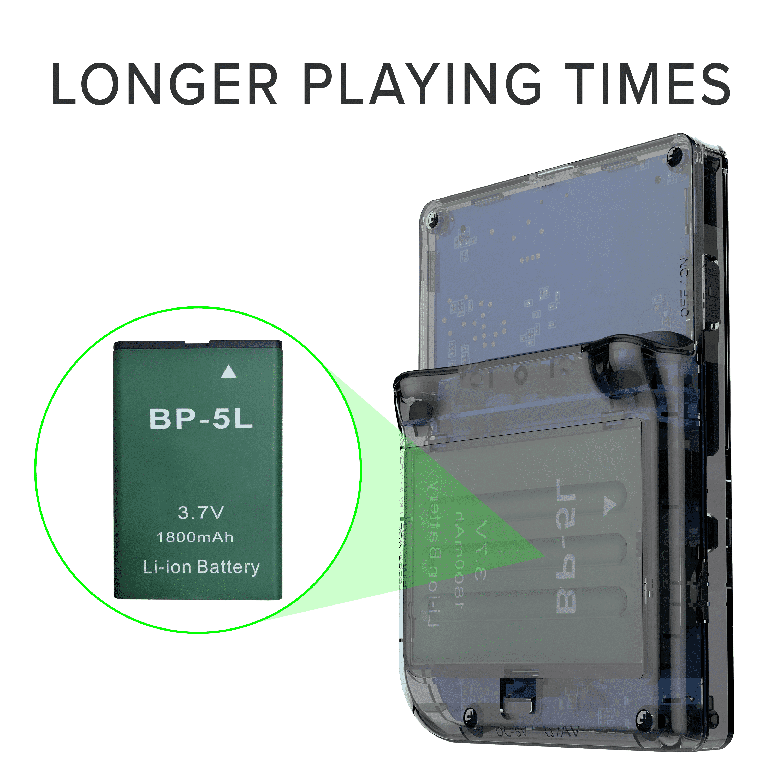 RG300 OpenDingux Retro Gaming Portable Handheld - Transparent Showcasing Big battery
