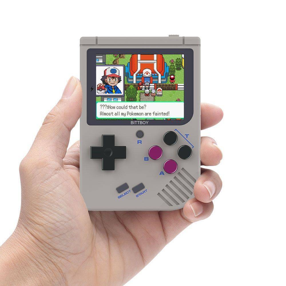 NEW Bittboy V3 Retro Gaming Handheld Emulator - Front View playing Pokemon