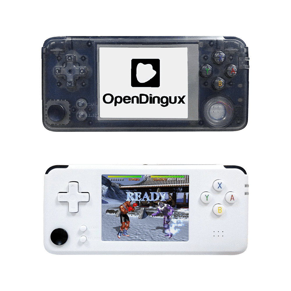 DroiX RS-97 Plus V2 Open Dingux Retro Gaming Console Handheld - Transparent and White