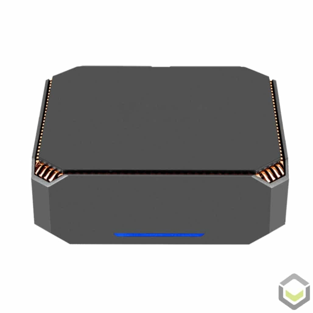 ACEPC CK2 i7 Windows 10 Mini PC for Home or Office - Front View of the blue LED
