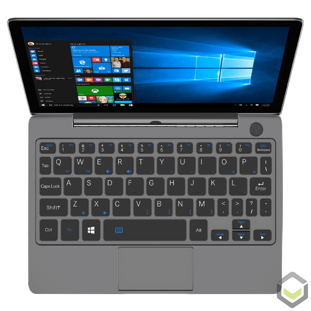 GPD P2 Max Grey Intel Core m3-8100y Windows 10 Ultrabook Portable PC - Showing Webcam, Full QWERTY Keyboard and Touchpad