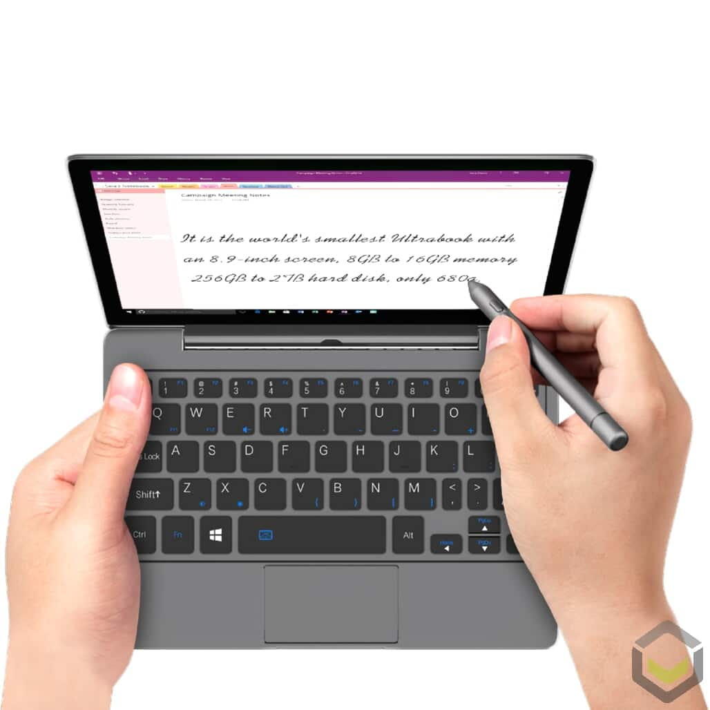 GPD P2 Max Grey Intel Core m3-8100y Windows 10 Ultrabook Portable PC - Using Touchscreen with Stylus