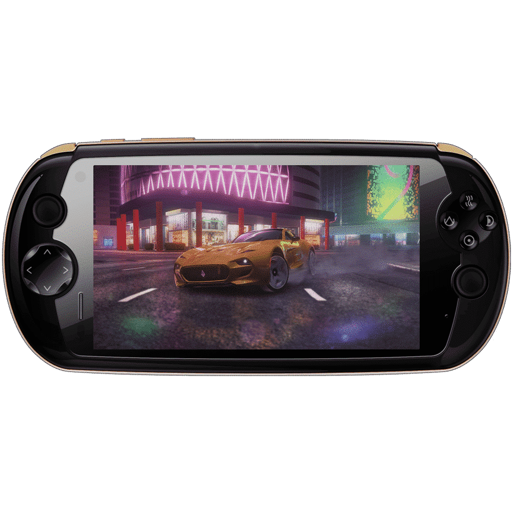 MOQi i7 Android Smartphone Handheld - Front view showing the game Asphalt 9 playing