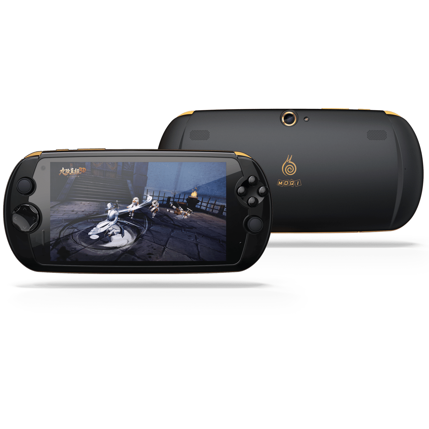 MOQi i7 Android Smartphone Handheld - Front view showing the console playing a MMORPG Game and the Camera on the back