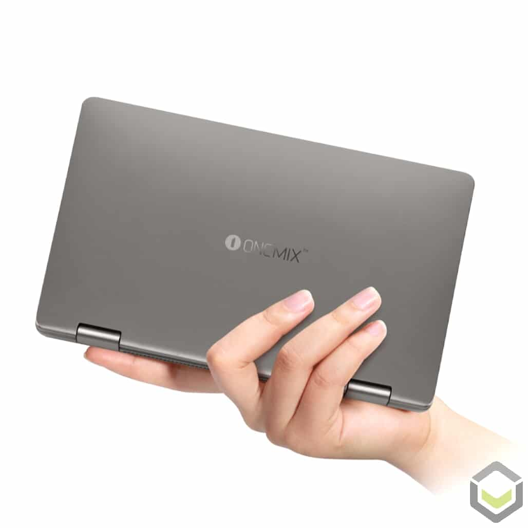 One Netbook Mix 3S Platinum Edition - Holding the mini laptop