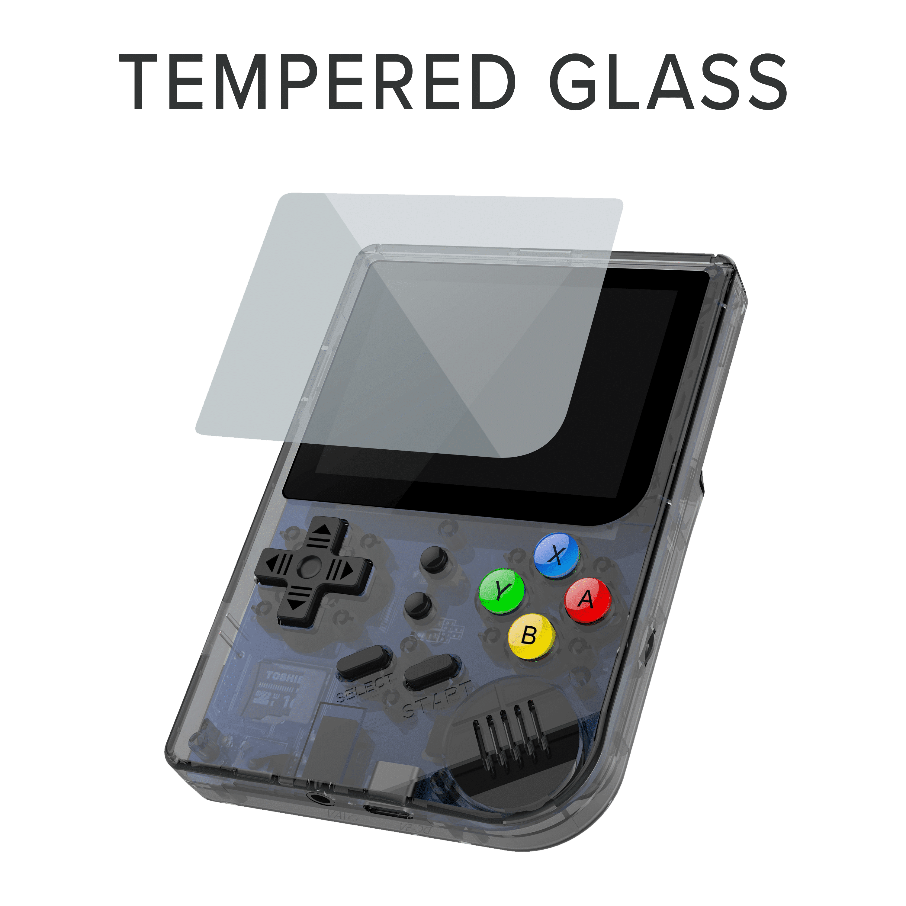 RG300 OpenDingux Retro Gaming Portable Handheld - Transparent Showcasing Tempered Glass