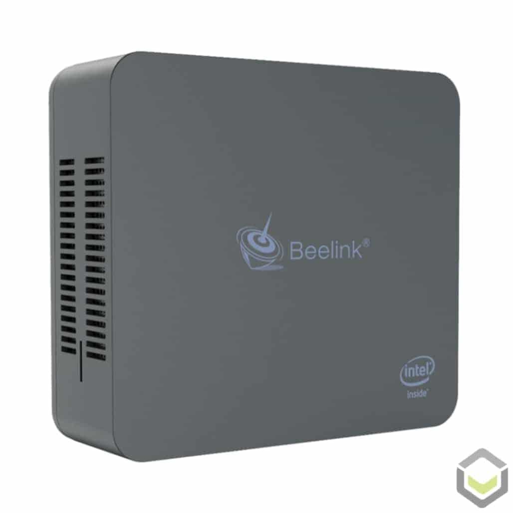 Beelink U55 Windows 10 Mini PC - Standing Up showing Top Cover
