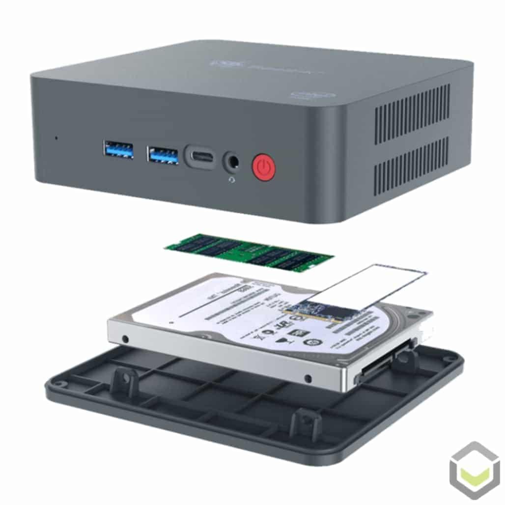 Beelink U55 Windows 10 Mini PC - Showing NGFF, SATA and SO-DIMM