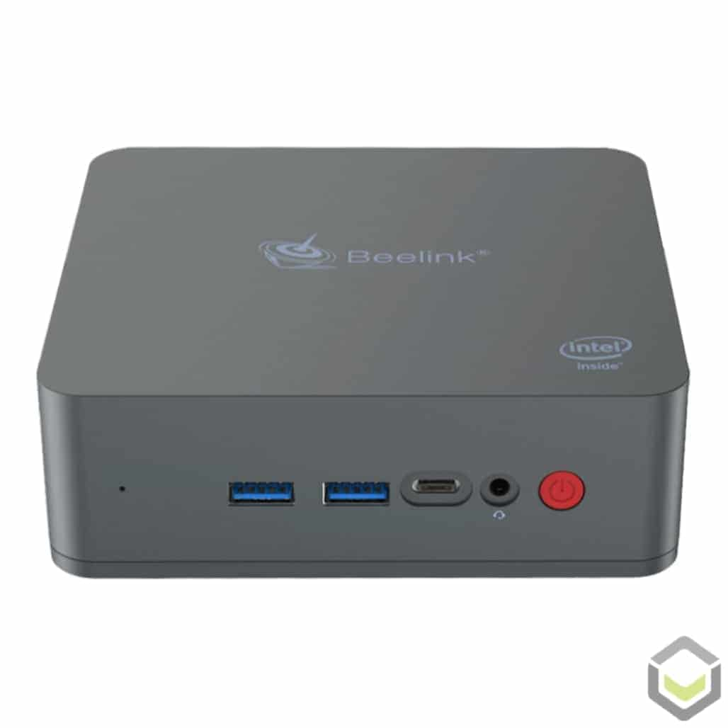 Beelink U55 Windows 10 Mini PC - Front View showing Power Button, Headphone Jack, USB Type-C Port and two USB 3.0 Ports
