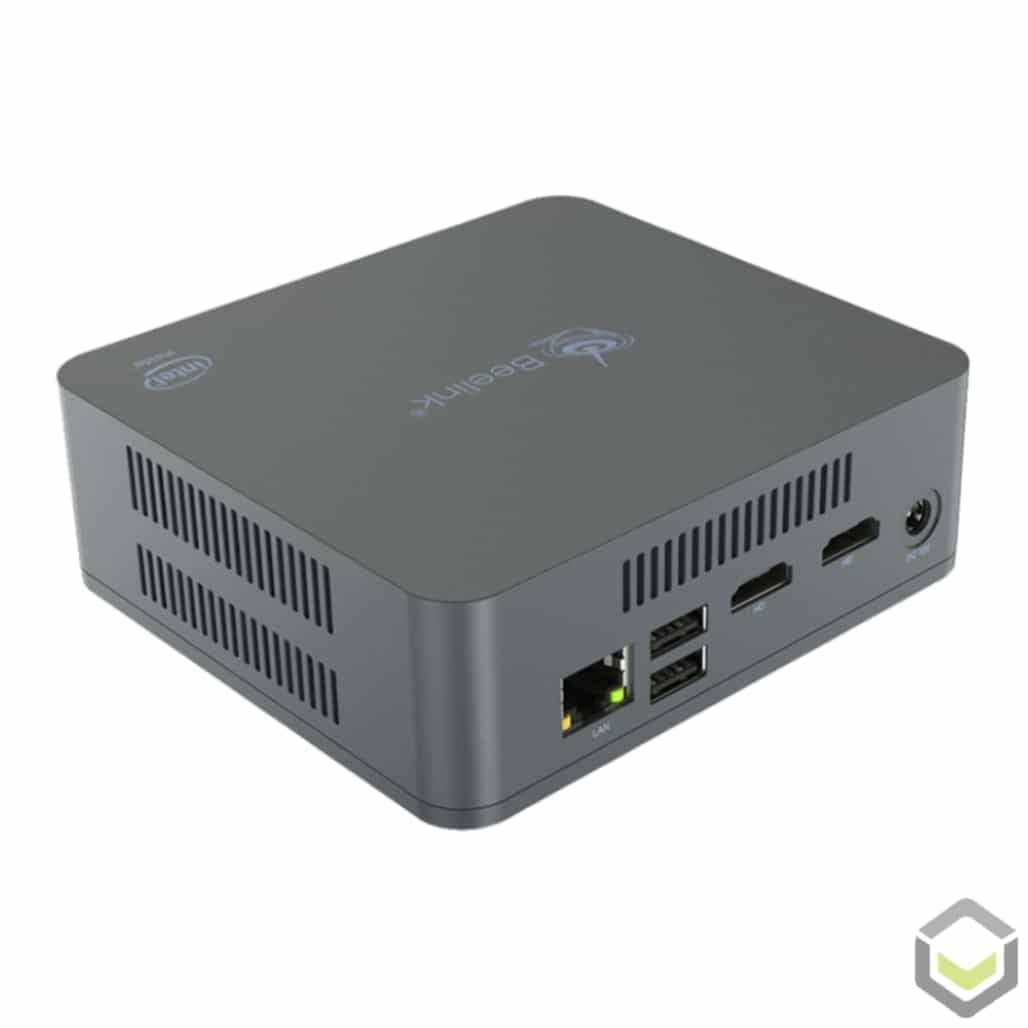 Beelink U55 Windows 10 Mini PC - Rear View showing CPU Vents, RJ45 Ethernet Port, two USB 2.0 Ports, two HDMI 1.4 Ports and Power Plug