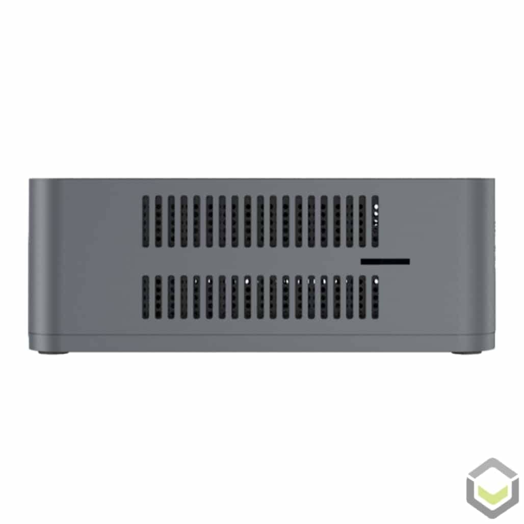 Beelink U55 Windows 10 Mini PC - Side View showing Air Vents and MicroSD/TF Card Reader