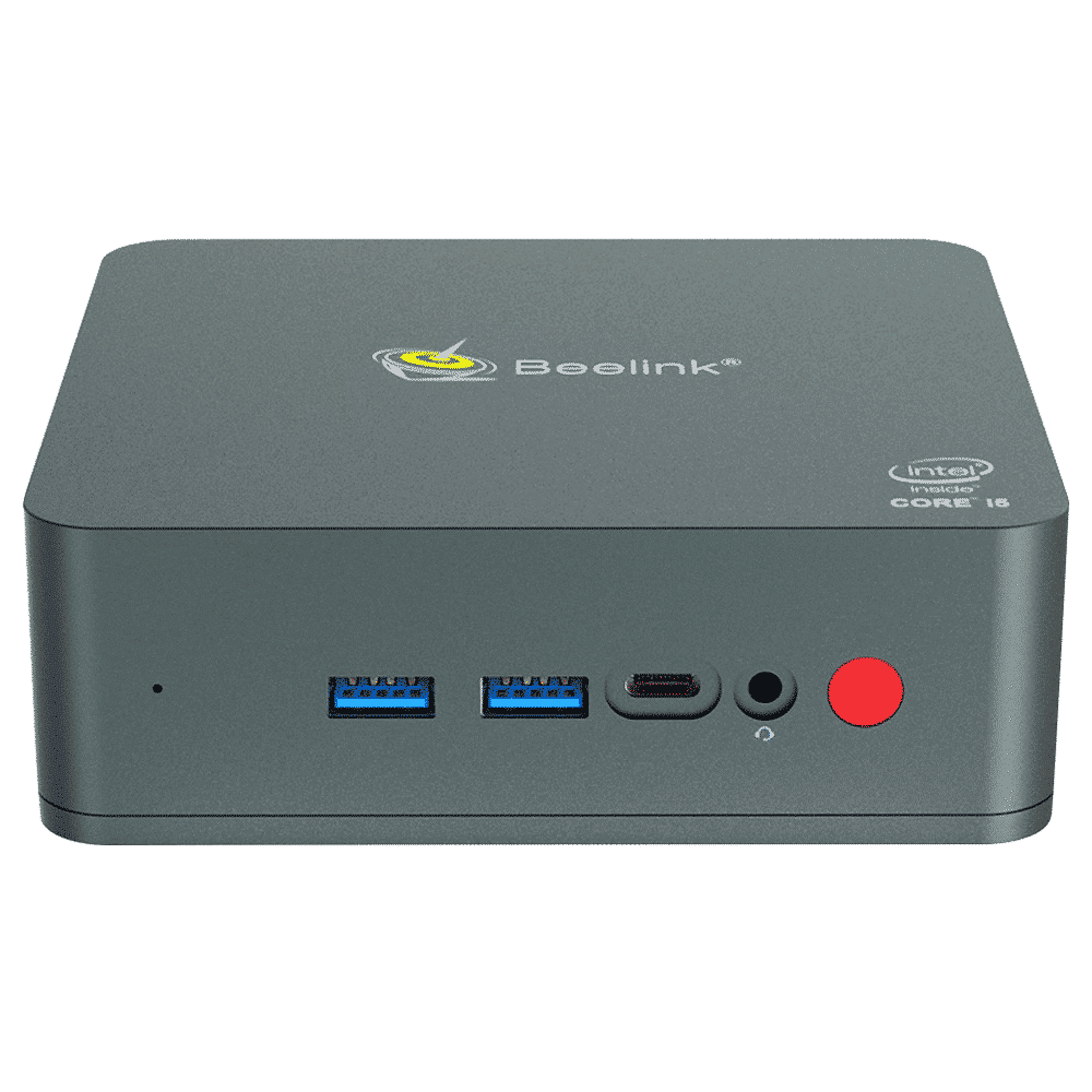 Beelink U57 Windows 10 Intel NUC Mini PC - Front facing showing Microphone, 2x USB 3.0 Type-A, 1x USB Type-C, 3.5mm Headphone Jack and Power button