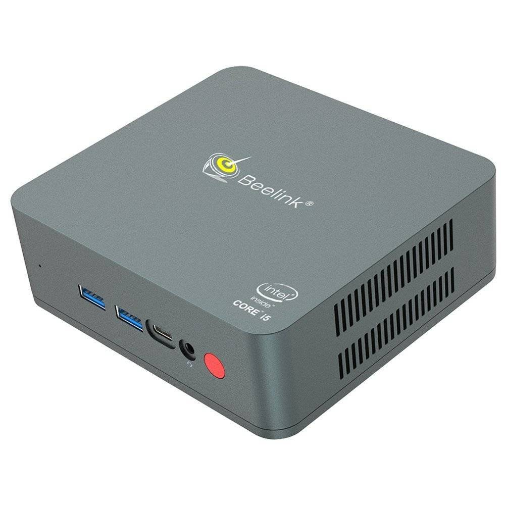 Beelink U57 Windows 10 Intel NUC Mini PC - Showing at angle with Front I/O and Right Side Vents