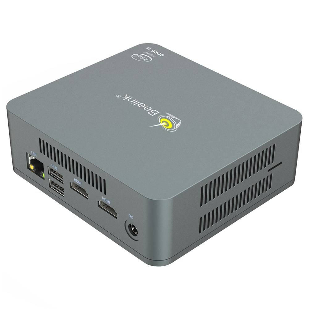 Beelink U57 Windows 10 Intel NUC Mini PC - Showing at angle with Front I/O and Right Side Vents with Side vents and MicroSD/TF Card Slot