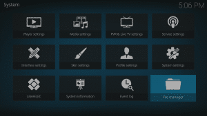 Kodi 17 LibreELEC System File Manager Icon Highlighted