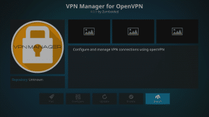 Kodi 17 LibreELEC Kodi Add-ons Install From Repository Repo Entered VPN Manager for OpenVPN Install Highlighted