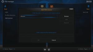 Kodi 16 LibreELEC VPN Manager for OpenVPN File Manager Add Source Click Address Box