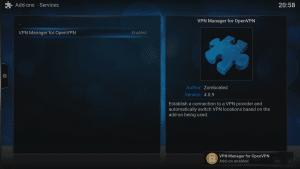 Kodi 16 LibreELEC VPN Manager for OpenVPN Addon Installed Confirmation Notification