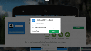 Play Store Heads Up Notifications Accept Permissions