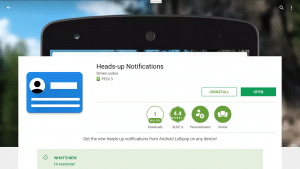 Play Store Heads Up Notifications Installed