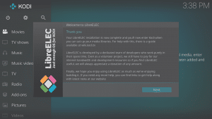 LibreELEC 8.0.2 Wizard Fifth Screen End