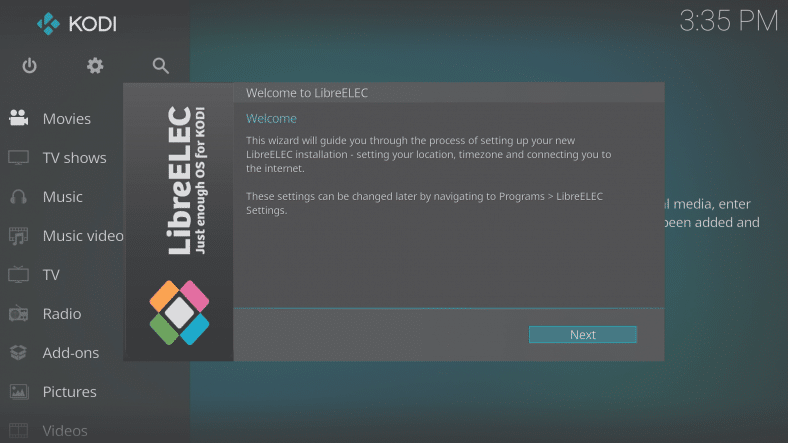 LibreELEC 8.0.2 Wizard First Screen Welcome