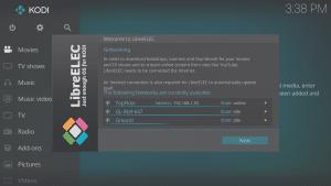 LibreELEC 8.0.2 Wizard Third Screen d Shows WiFi Connected