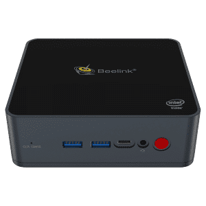 Beelink GK55 Intel Mini PC - Shown from the front with Power Button, Headphone In, USB C Port and 2x USB Type-A Ports