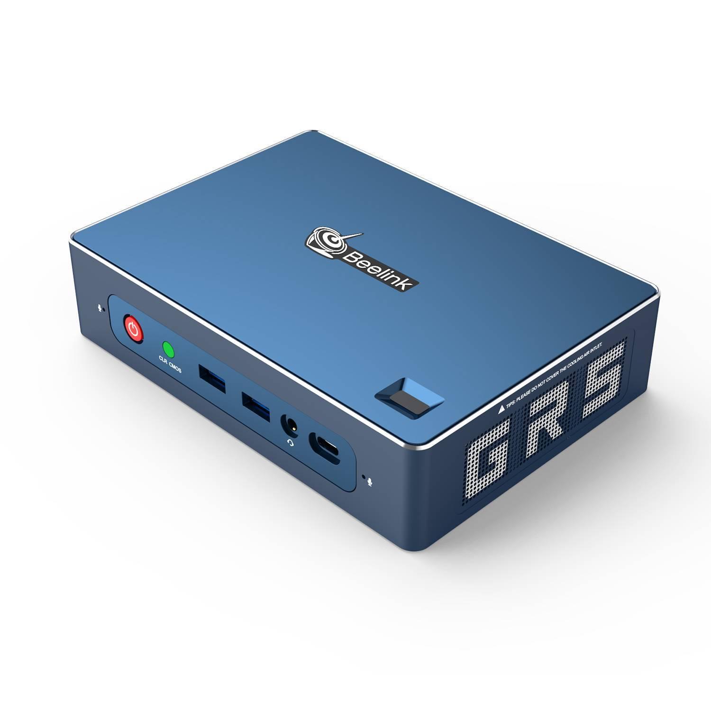 Beelink GT-R AMD Ryzen NUC Mini PC - Showing front I/O and Fingerprint Sensor and right side grille
