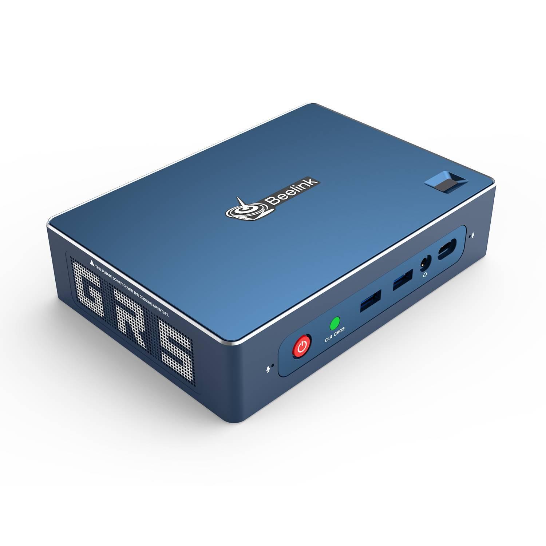 Beelink GT-R AMD Ryzen NUC Mini PC - Showing front I/O and Fingerprint Sensor and left side grille