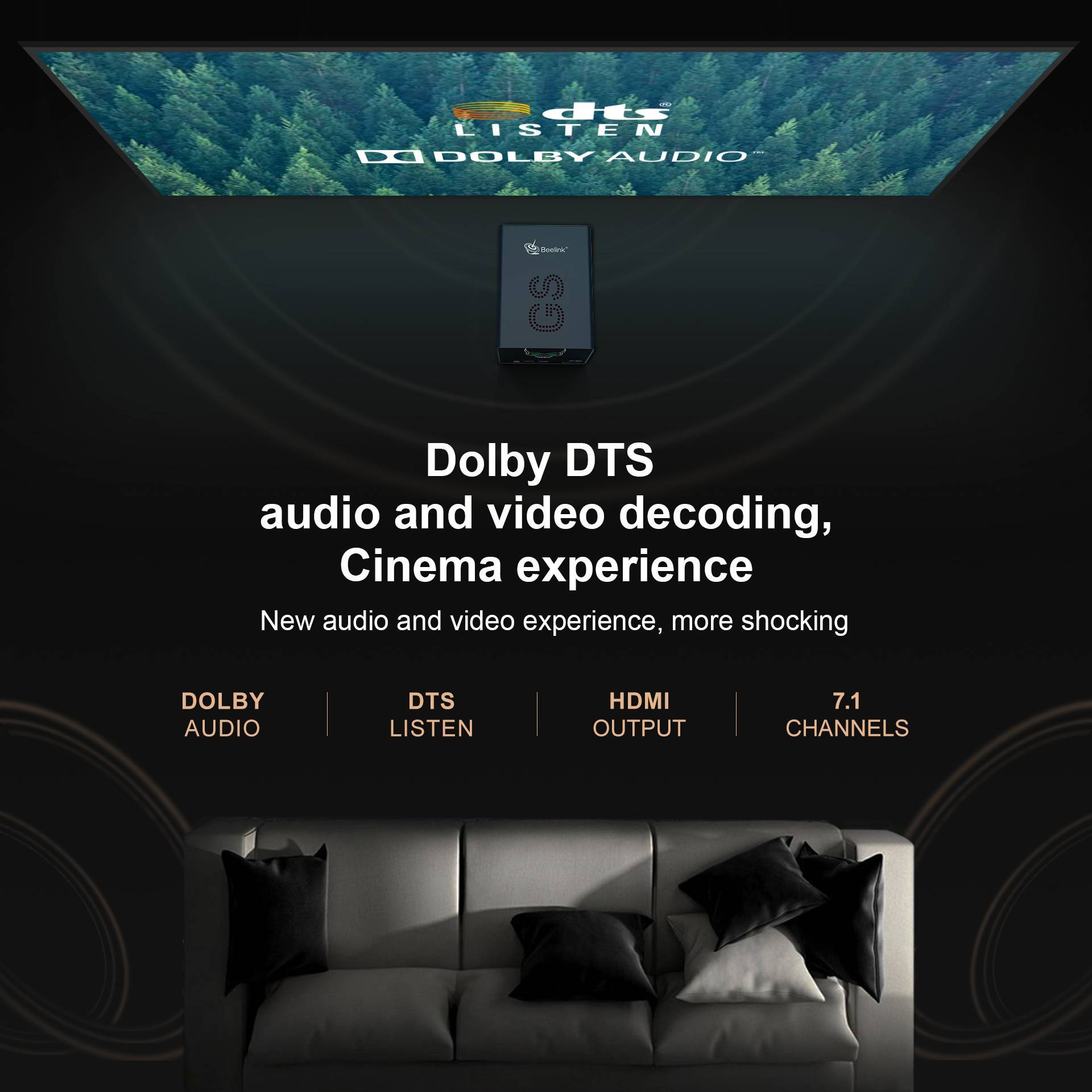 Beelink GS-King X - Showing Dolby DTS Functionality