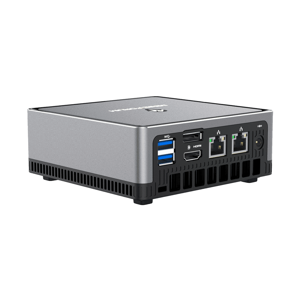 MINISFORUM DMAF5 AMD Mini PC with Ryzen 5 - Shown from the back at left side angle with Power Port, 2x RJ45 Ethernet Ports, 1x HDMI, 1x DisplayPort and 2x USB Type-A Ports