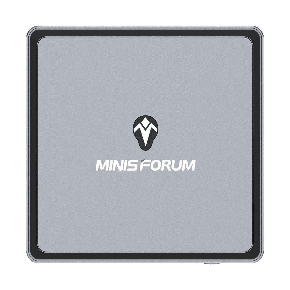 MINISFORUM DMAF5 AMD Mini PC with Ryzen 5 - Shown from the top with MINISFORUM Logo