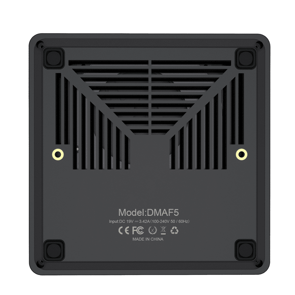 MINISFORUM DMAF5 AMD Mini PC with Ryzen 5 - Shown from the bottom with Air Intake