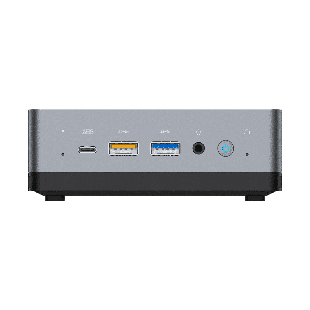 MINISFORUM DMAF5 AMD Mini PC with Ryzen 5 - Shown from front with Mic In, 2x USB Type-A Ports, 1x USB Type-C Port, 3.5mm Jack and Power Button